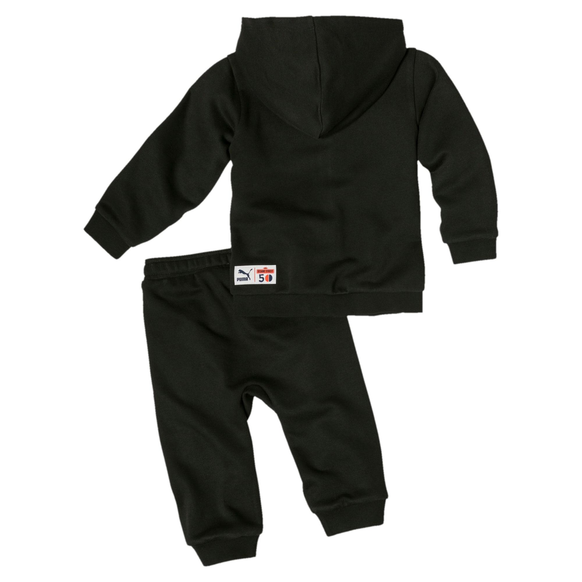Thumbnail 2 of PUMA x SESAME STREET Infant + Toddler Sweatsuit Set, Cotton Black, medium