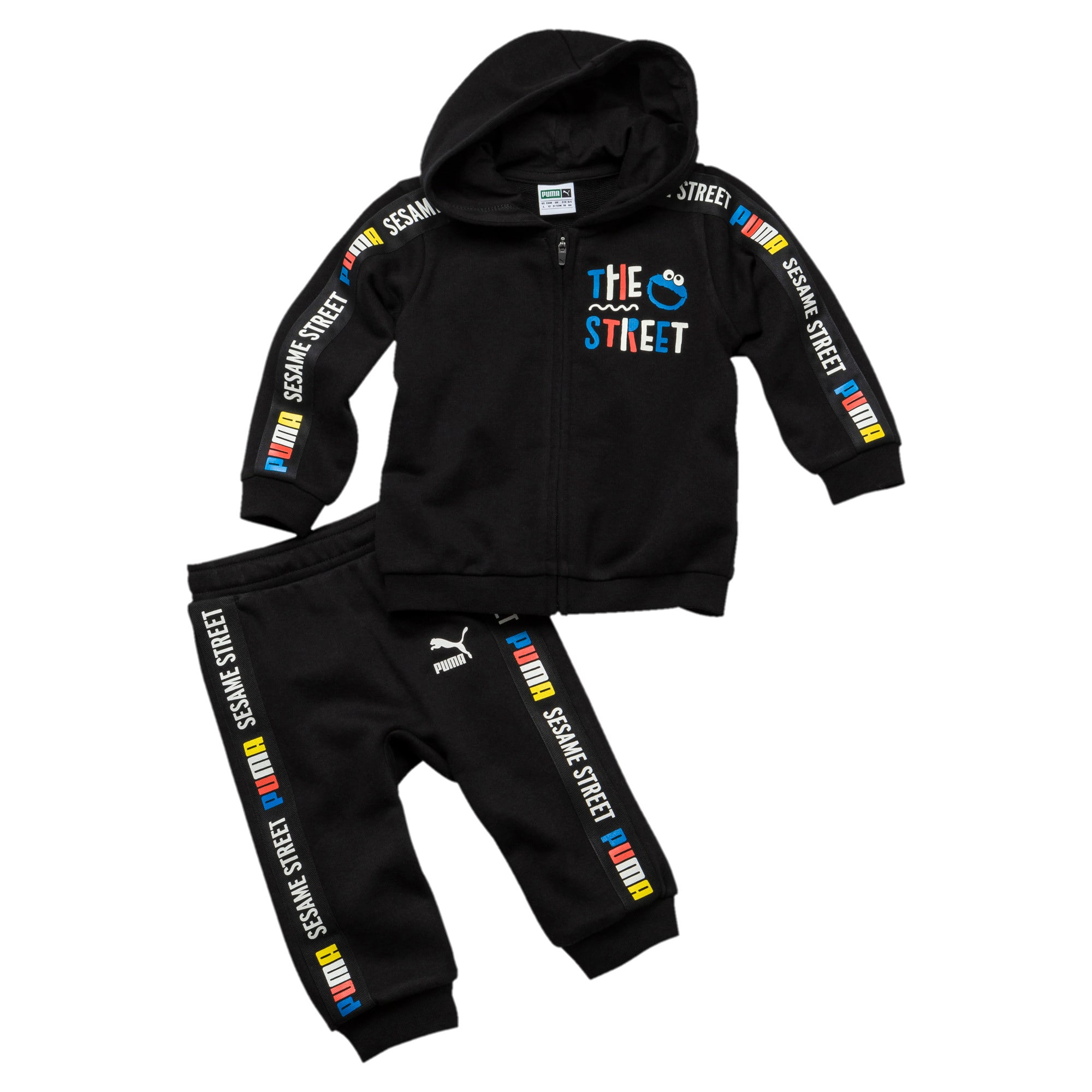 Thumbnail 1 of PUMA x SESAME STREET Infant + Toddler Sweatsuit Set, Cotton Black, medium