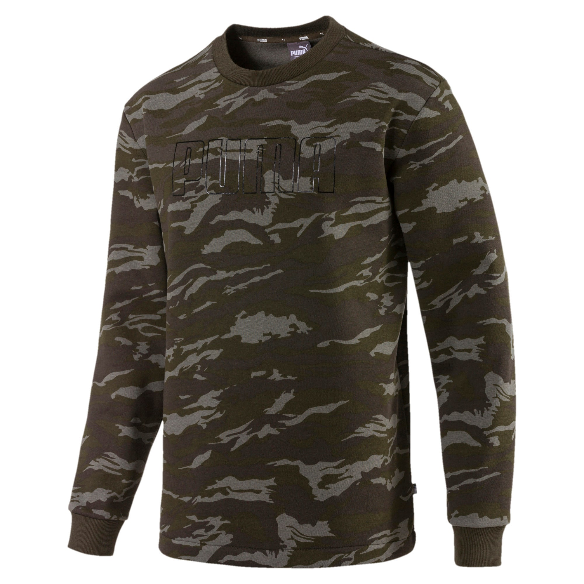 Thumbnail 1 of Camo Men's Fleece Crewneck Sweatshirt, Forest Night, medium