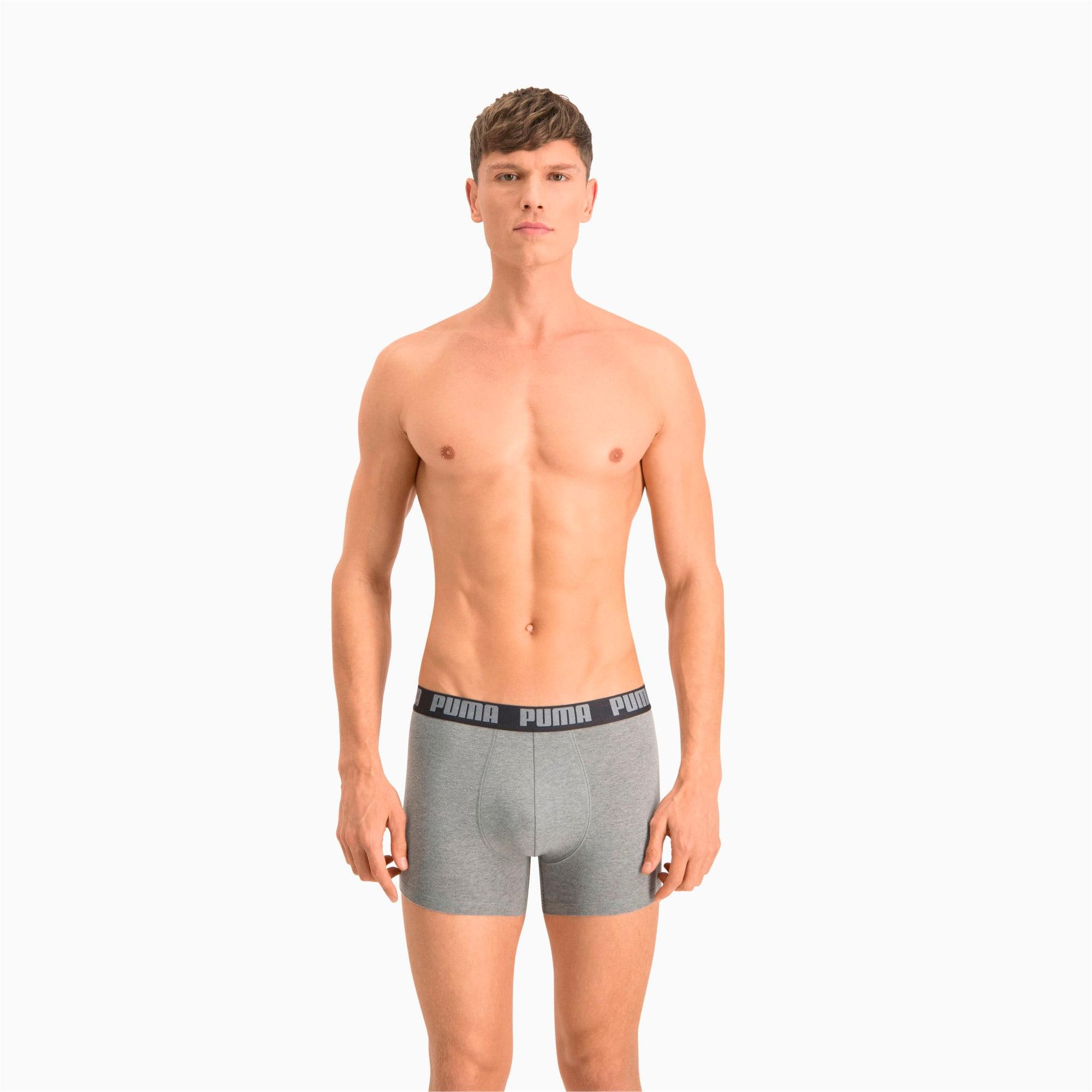 Thumbnail 3 of Men's Basic Boxer Shorts 2 Pack, dark grey melange / black, medium