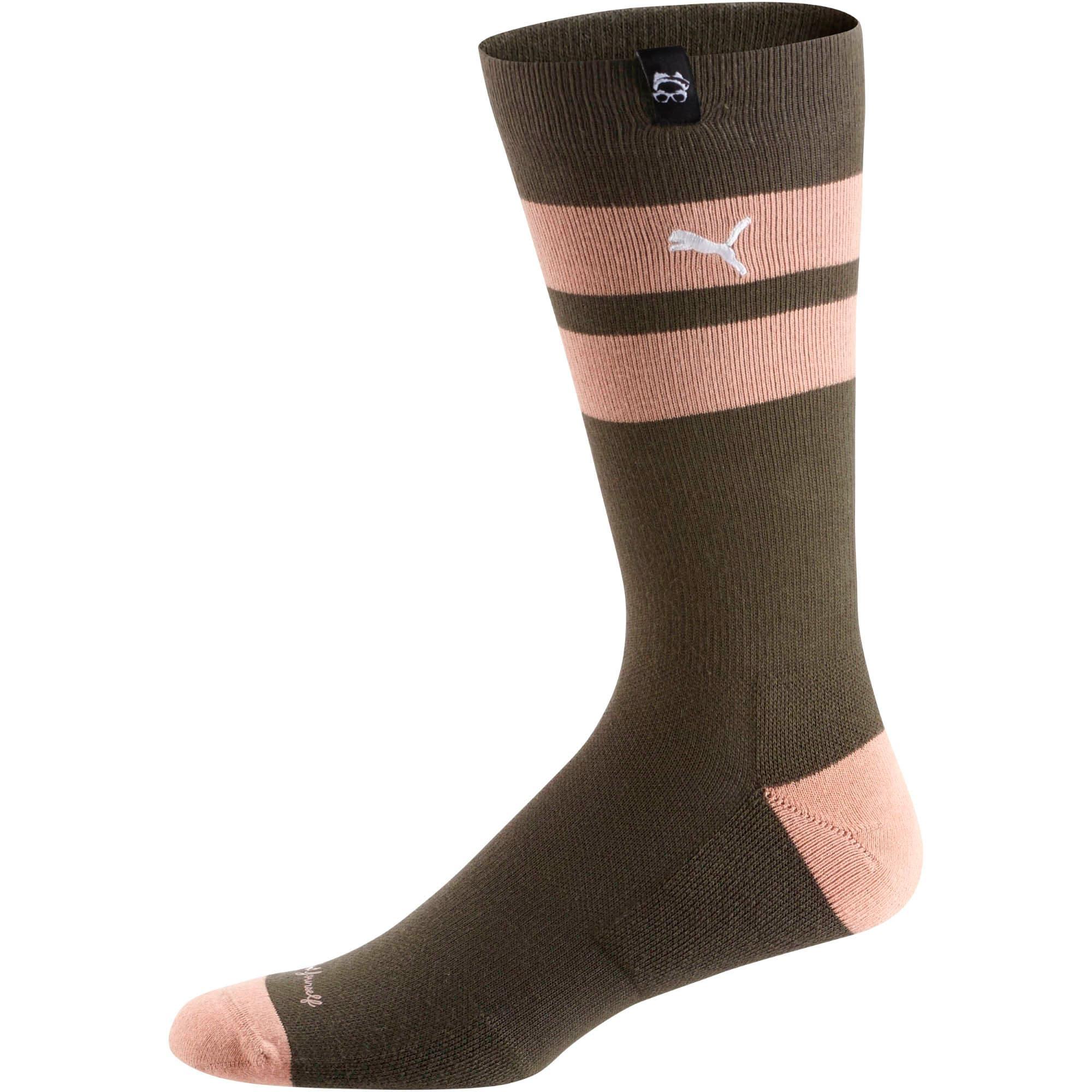 Thumbnail 1 of PUMA x EMORY JONES Men's Crew Socks [1 Pair], Forest-Coral-White, medium