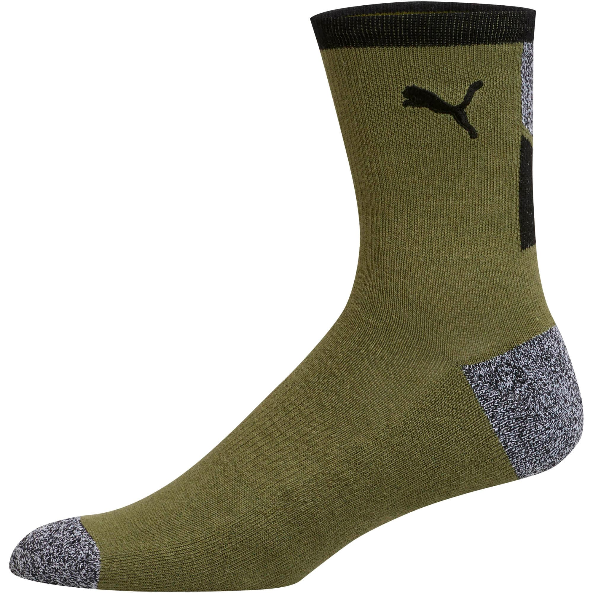 Thumbnail 2 of 1/2 Terry Men's Low Crew Socks [2 Pack], BLACK / WHITE, medium