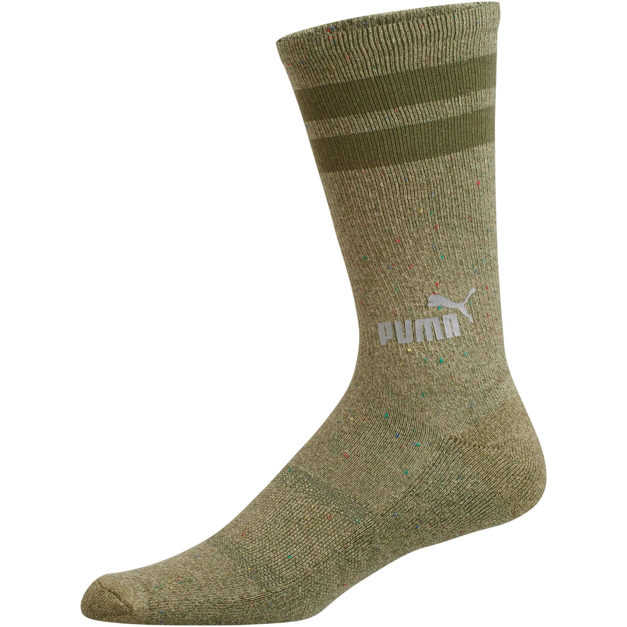1/2 Terry Men's Crew Socks [3 Pack], OLIVE, large