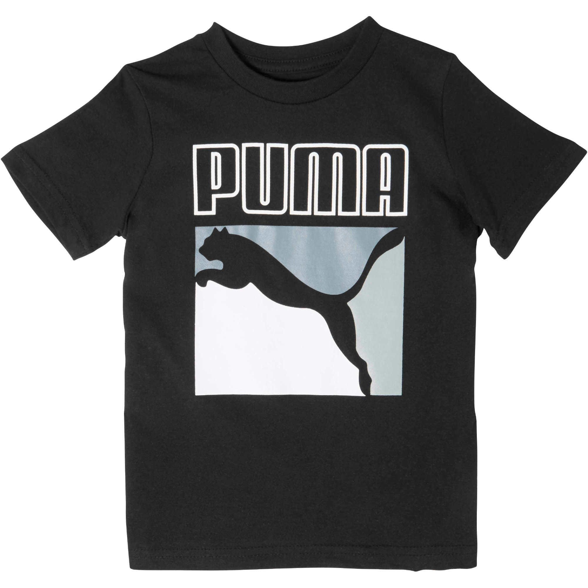 Thumbnail 1 of Little Kids' Graphic Tee, PUMA BLACK, medium