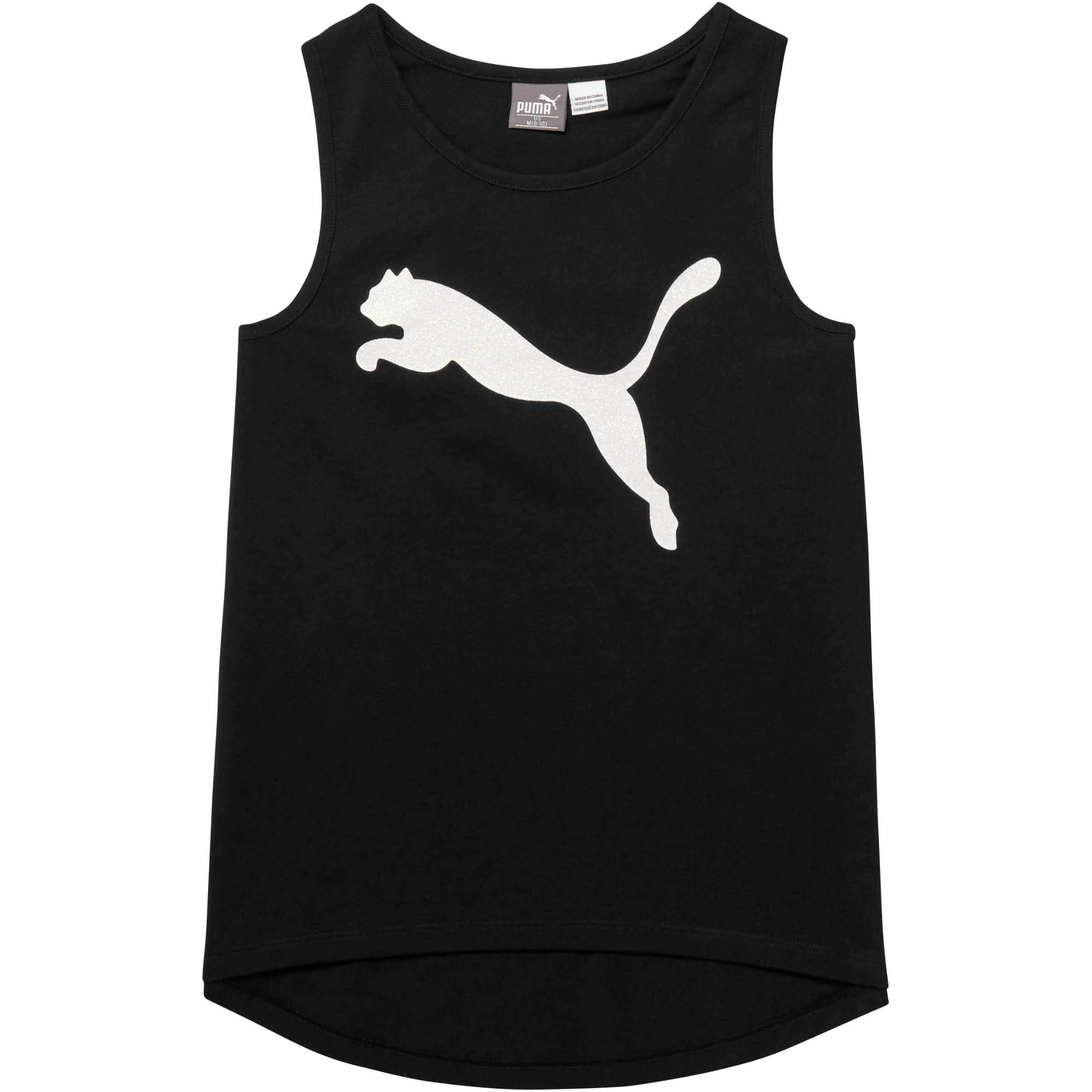 Miniatura 1 de Camiseta sin mangas moderna de algodón y jersey para niña joven, PUMA BLACK, mediano