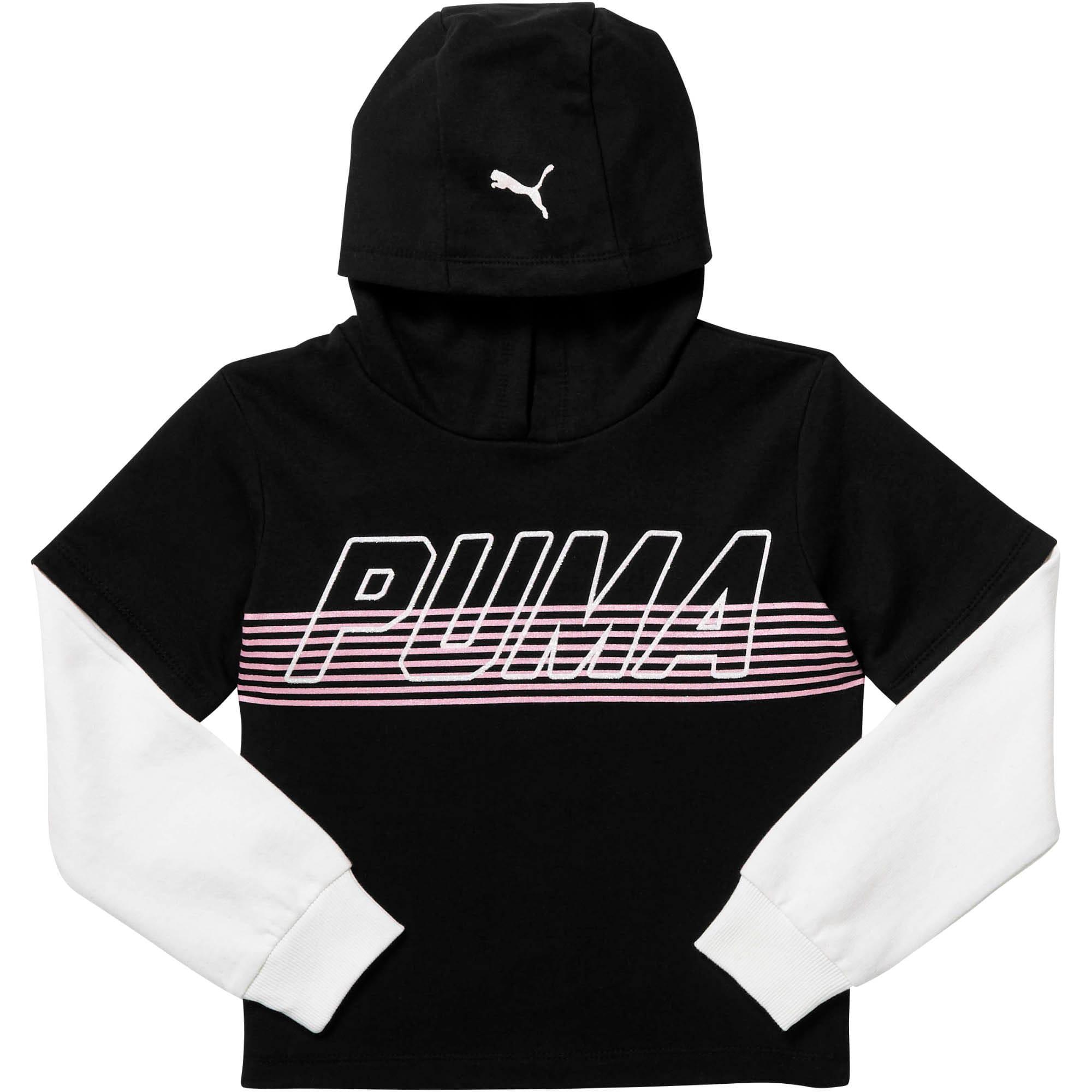 Thumbnail 1 of Girls' Fleece Hangdown Pullover JR, PUMA BLACK, medium
