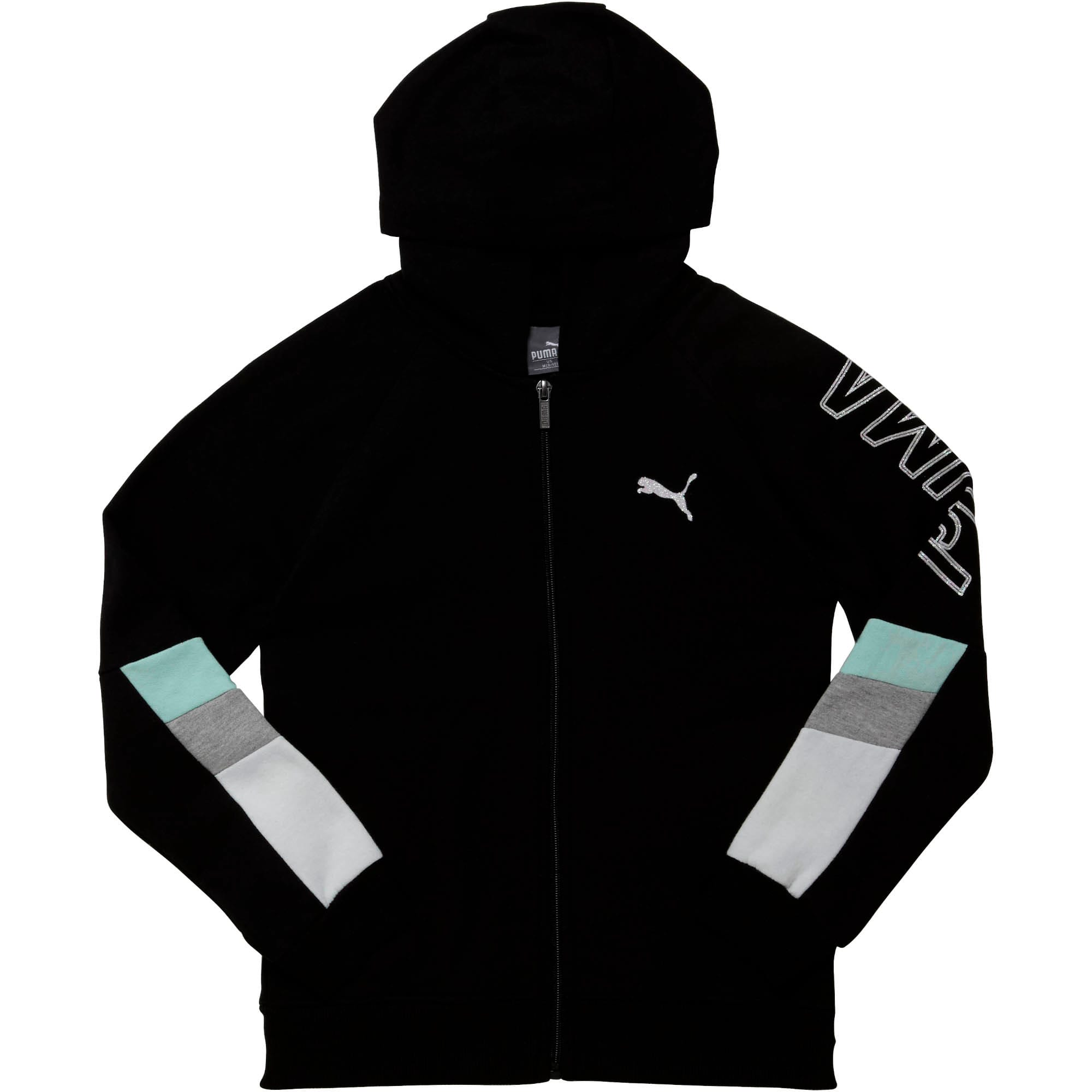 Thumbnail 1 of Girls' Fleece Colorblock Full Zip Hoodie JR, PUMA BLACK, medium