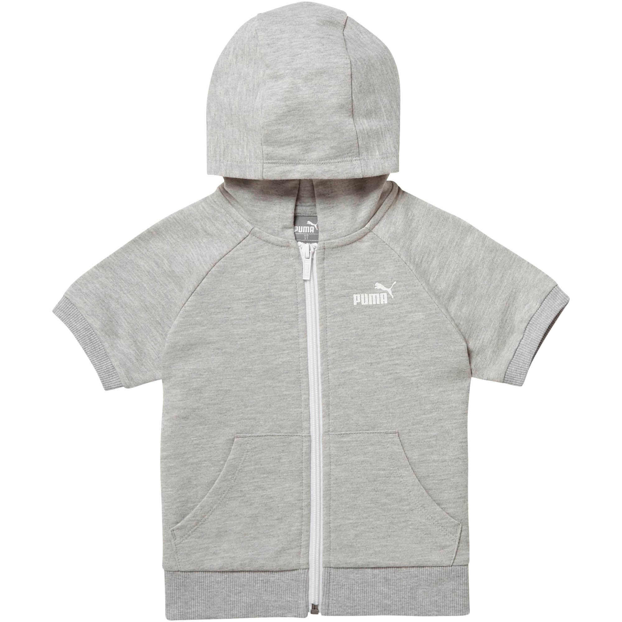 Thumbnail 1 of Toddler Full Zip Short Sleeve Hoodie, LIGHT HEATHER GREY, medium