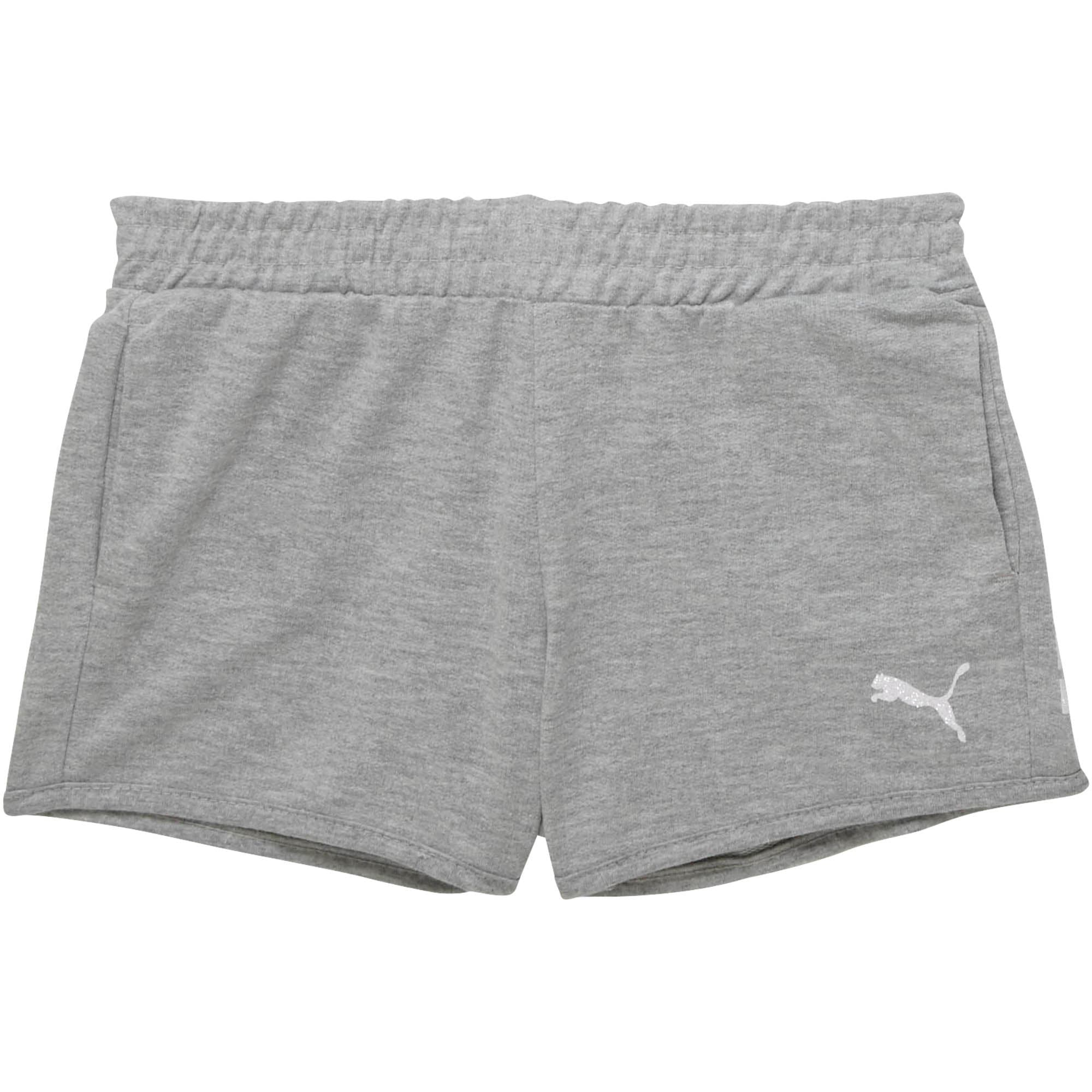Thumbnail 1 of Girls' French Terry Shorts JR, LIGHT HEATHER GREY, medium