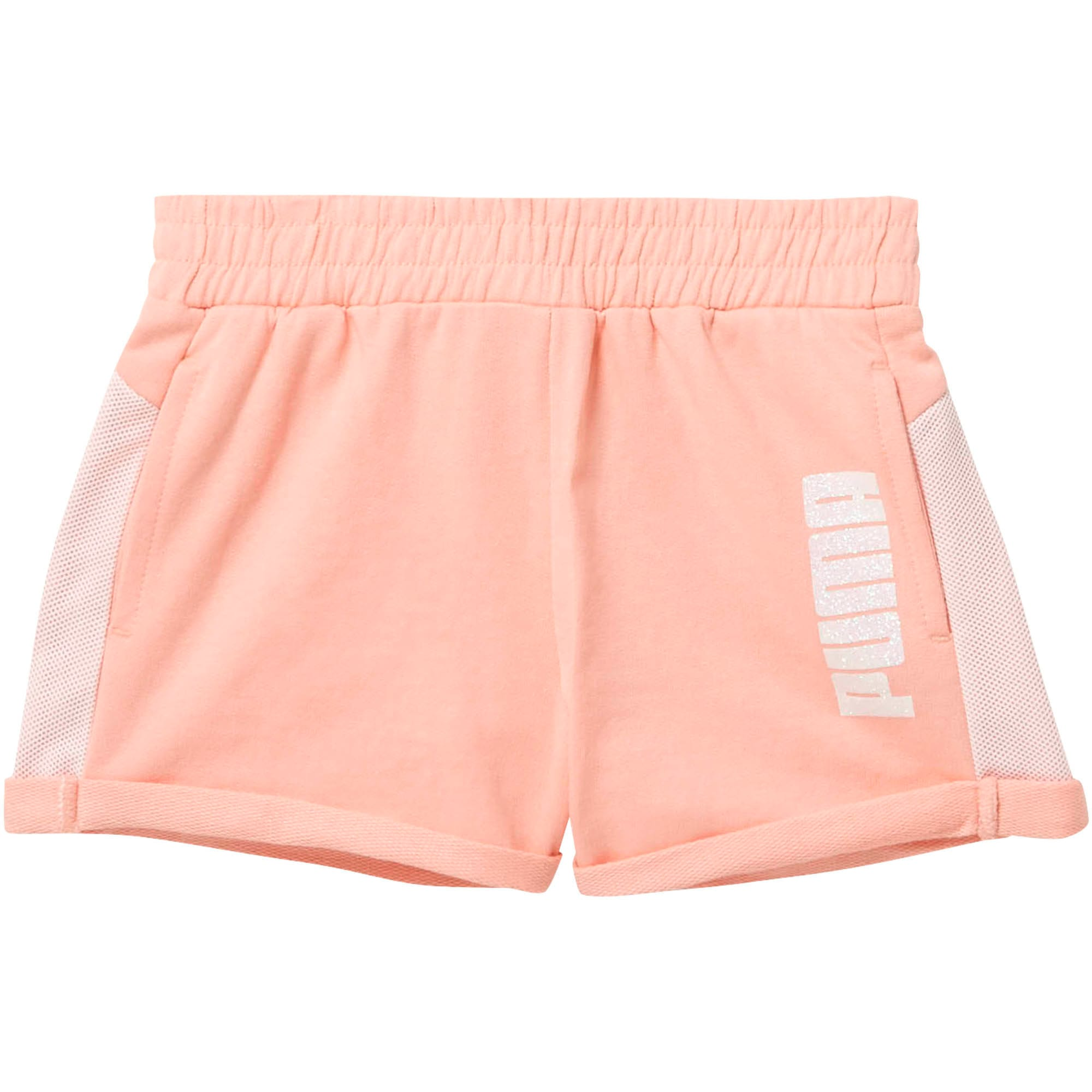 Thumbnail 1 of Little Kids' Cotton Terry Mesh Fashion Shorts, PEACH BUD, medium