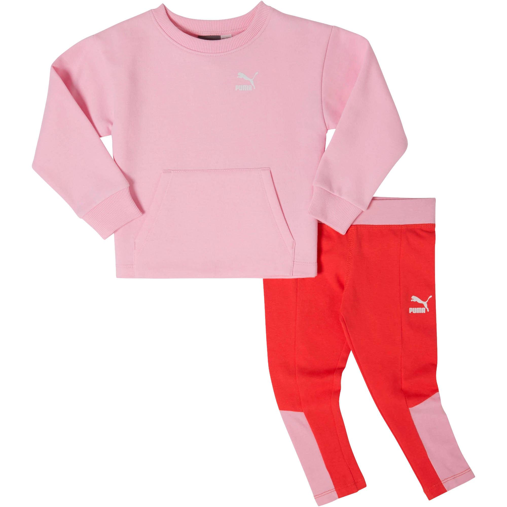 Thumbnail 1 of Infant + Toddler Fleece Crew Pullover + Cotton Spandex Leggings Set, PALE PINK, medium