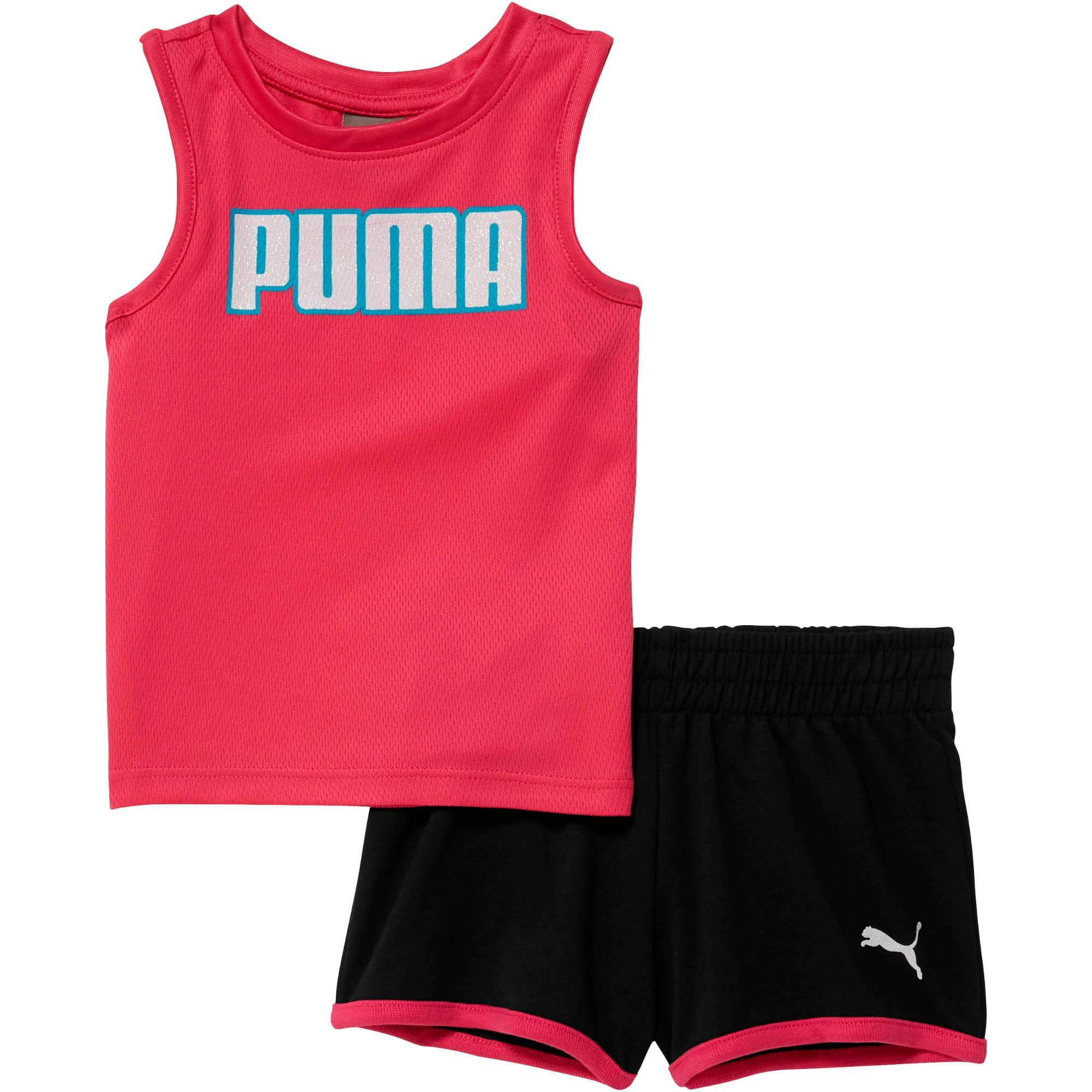 Thumbnail 1 of Infant + Toddler Mesh Fashion Tank + Shorts Set, FUCHSIA PURPLE, medium