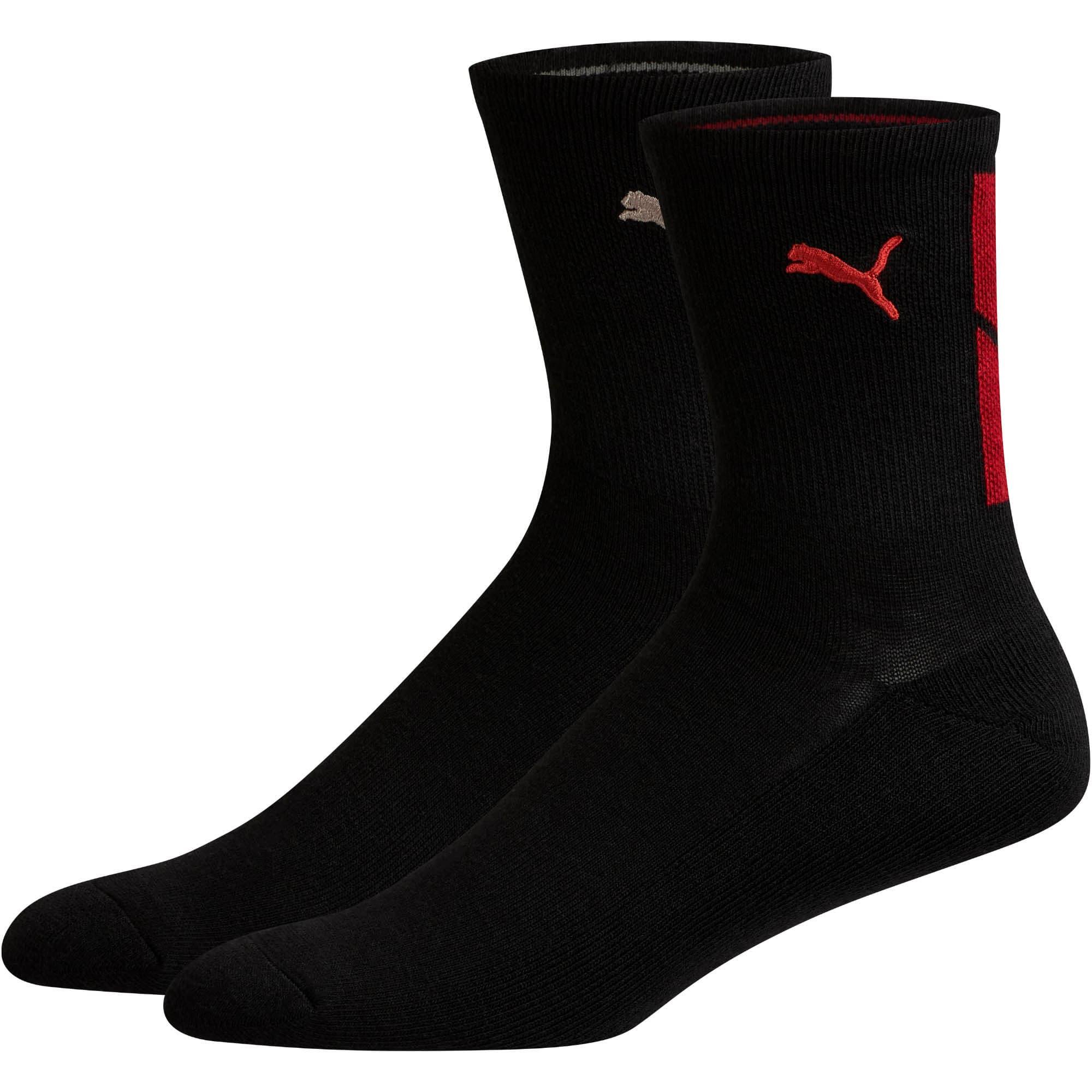 Thumbnail 1 of Men's Low Crew Socks [2 Pack], BLACK / RED, medium