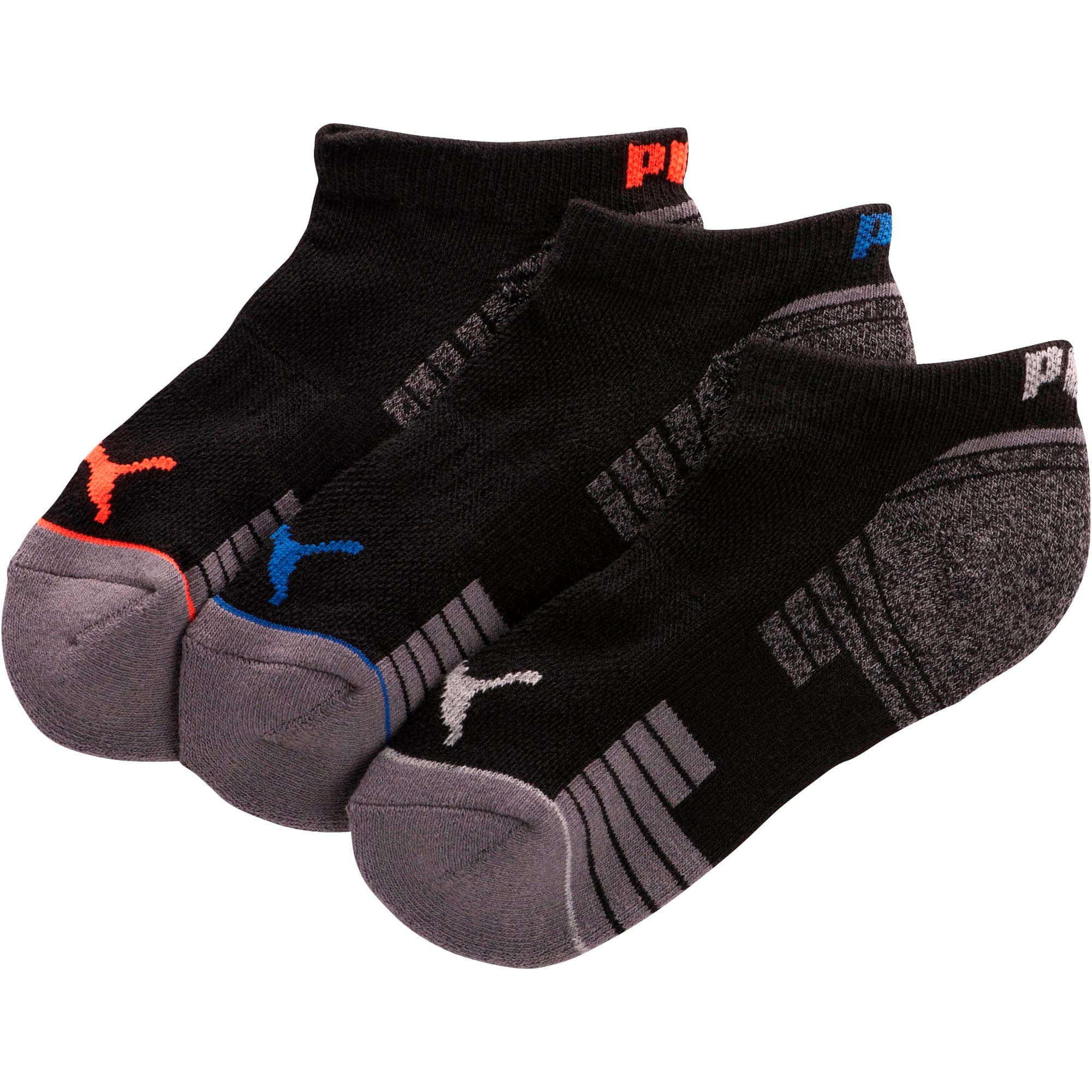 Thumbnail 1 of Boys' 1/2 Terry Low Cut Socks [3 Pack], BLACK / BLUE, medium
