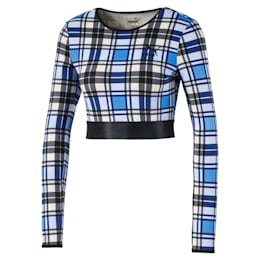 Check Cropped Long Sleeve Women's Top
