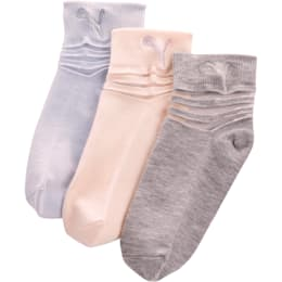 Girls' Non Terry Low Cut Socks [3 Pack]