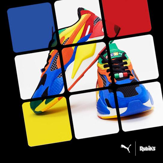 色を揃える立体パズル「ルービックキューブ」でおなじみの「Rubik'sBrand Ltd.」とのコラボレーション。様々な色や素材を組み合わせたデザインが特徴です。